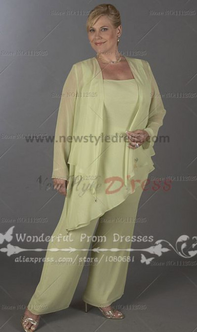 Plus Size Light green modern pants sets mother of the bride dress nmo-091