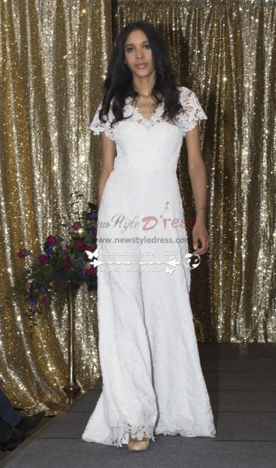 bridal wedding dresses fashion Glamorous lace jumpsuit for Bride wps-049
