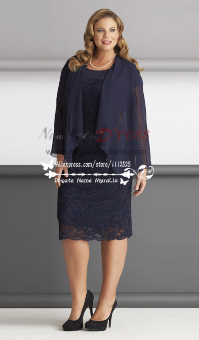 Elegant Plus size mother of the bride dresses lace outfits Knee-Length with jacket