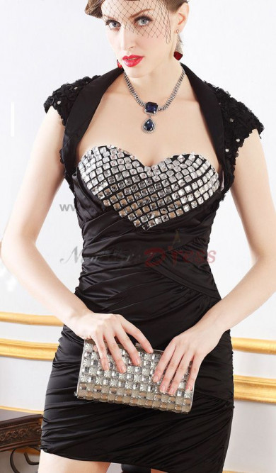 Sweetheart Sheath Sexy Chest With Crystal Prom Dresses with balck Vest nm-0247