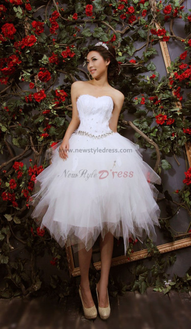 Ball Gown White Feathers Tiered Short Cocktail Dresses nm-0142