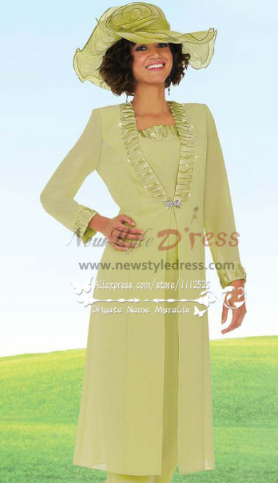 Classic Mother of the bride pantsuit Formal chiffon dress Custom made nmo-244