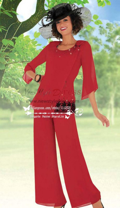 Red mother of the bride pant suit with black embroidery