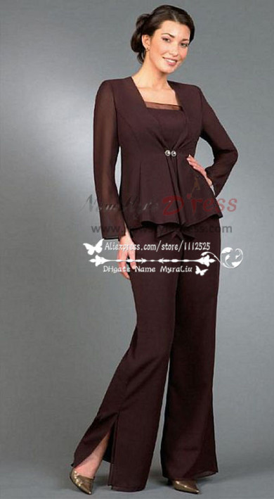 Chocolate chiffon pantsuit outfit for mother wedding nmo-223