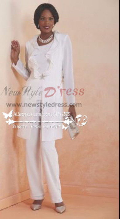 Beautiful Wihte three piece dress suit for wedding mother of the bride chiffon pant suits nmo-183