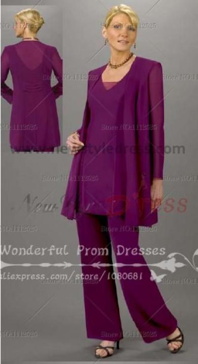 Cheap Purple Chiffon Three Piece mother of the bride dress pants sets nmo-069