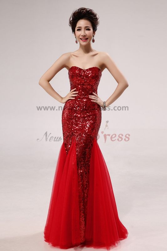 2017 New Style Red Sequins Mermaid Trumpet Prom Dresses np-0263