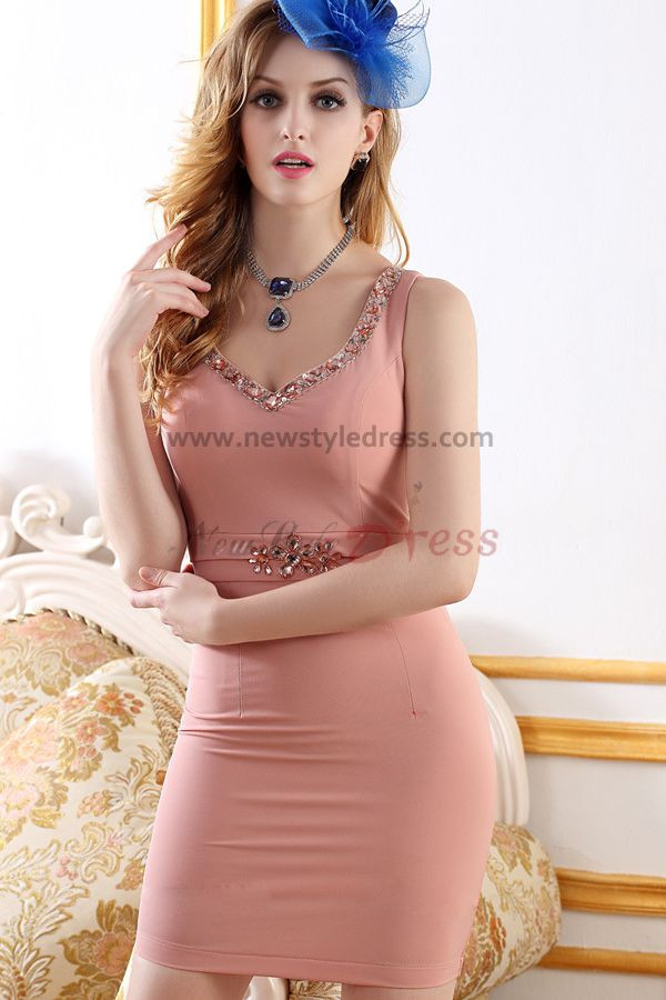 2017 New Style Package buttocks Sweetheart Pink Cocktail Dresses nm-0239
