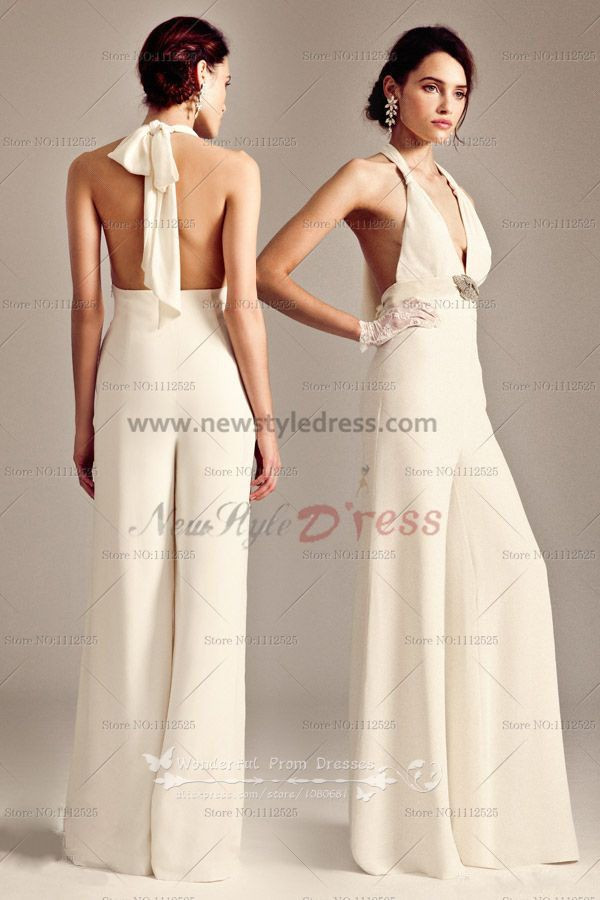 2018 Latest Fashion Halter Glamorous Ivory Sexy Womens Jumpsuits