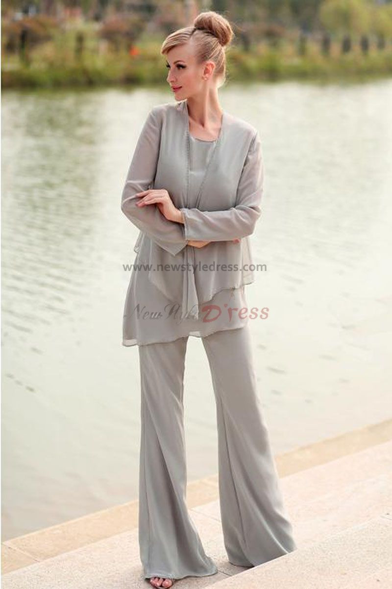 Elegant gray Chiffon three Piece mother of the bride dresses pants suit nmo-028