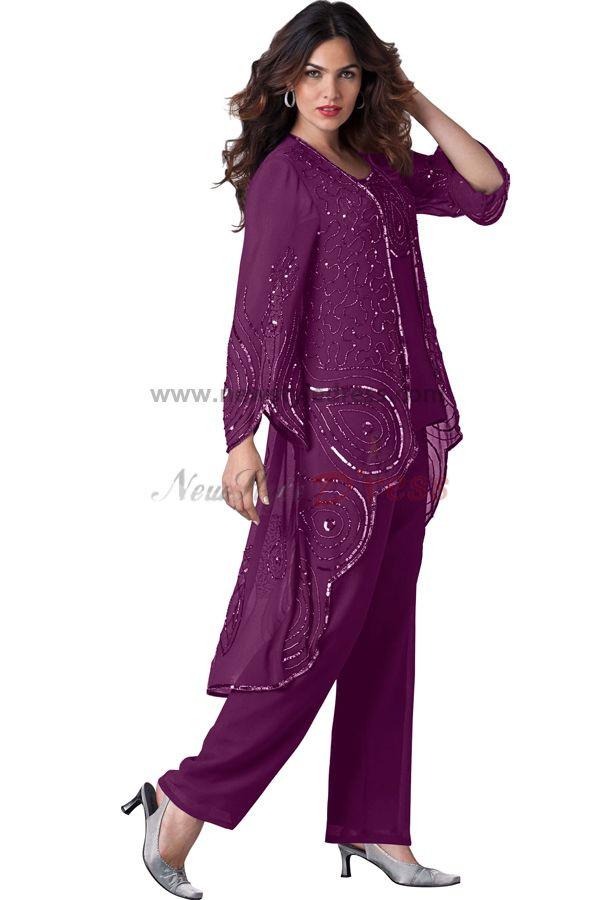 Grape  pants sets Modern Pattern spring mother of the bride dress nmo-096