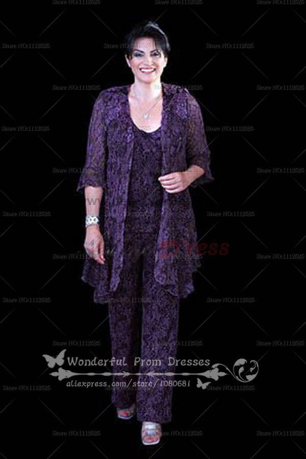 aec5daa37e4 Plus Size purple Lace Three Piece mother of the bride dress pants sets  nmo-061