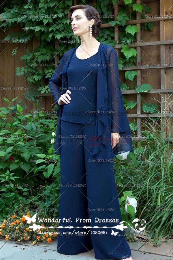 Dark Navy Three Piece Chiffon mother of the bride pants suits With jacket nmo-040