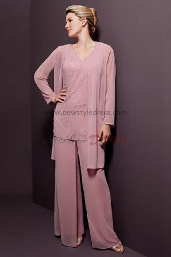 V-neck Pink Chiffon Three Piece pants sets mother of the bride dress ...