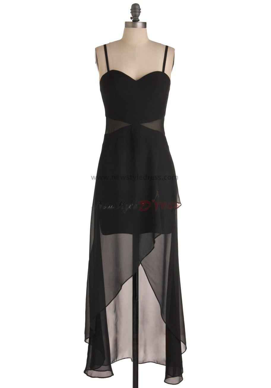 black Chiffon Spaghetti Hi-Lo under 100 Custom Homecoming Dresses