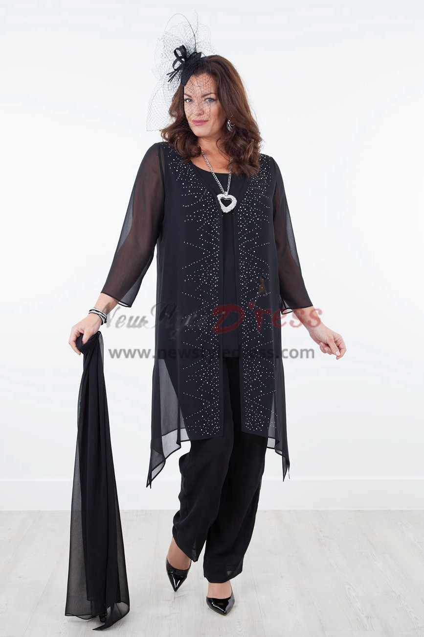 Black Mother of the bride dresses with shawl Chiffon outfit for beach wedding NEW ARRIVAL