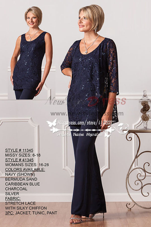 Elegant with jacket Formal Dark navy lace mother of the bride outfits