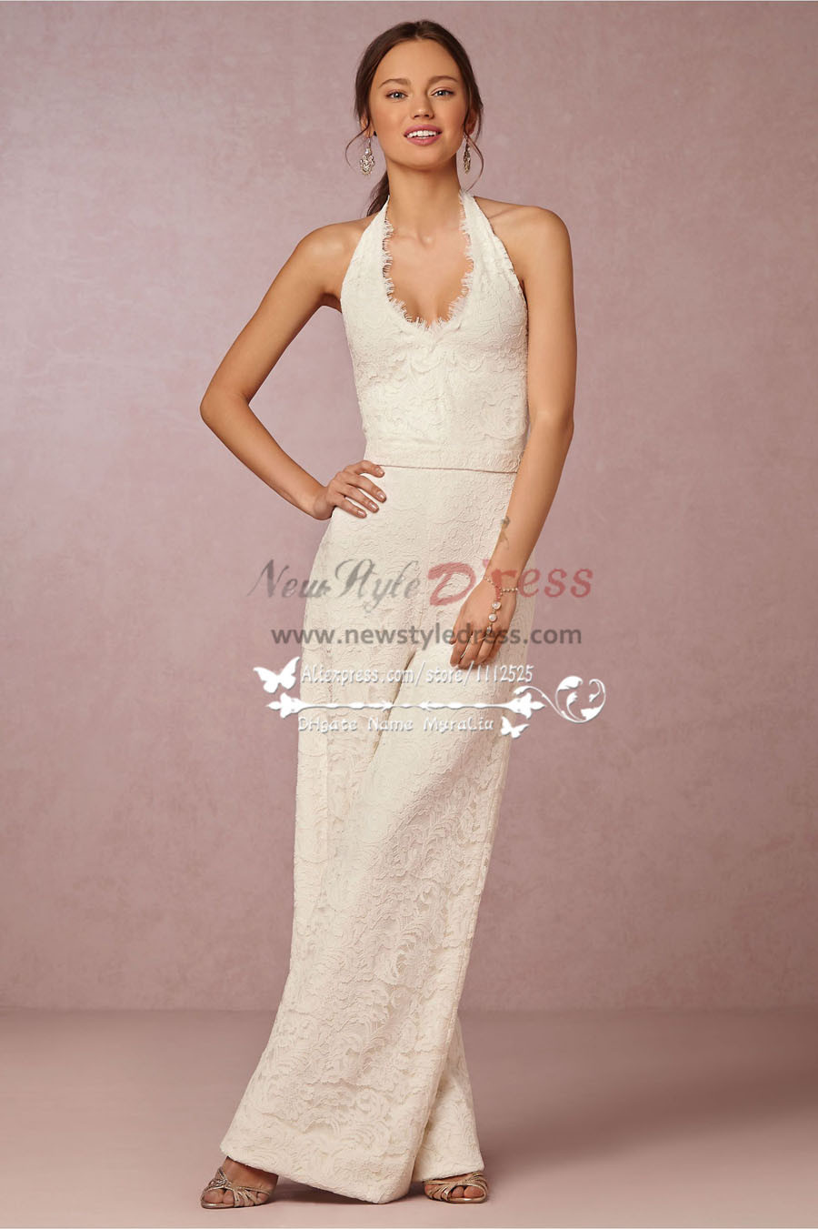 b32642ad51ac New Arrival bridal wedding dress charming lace halter dress jumpsuit wps-048