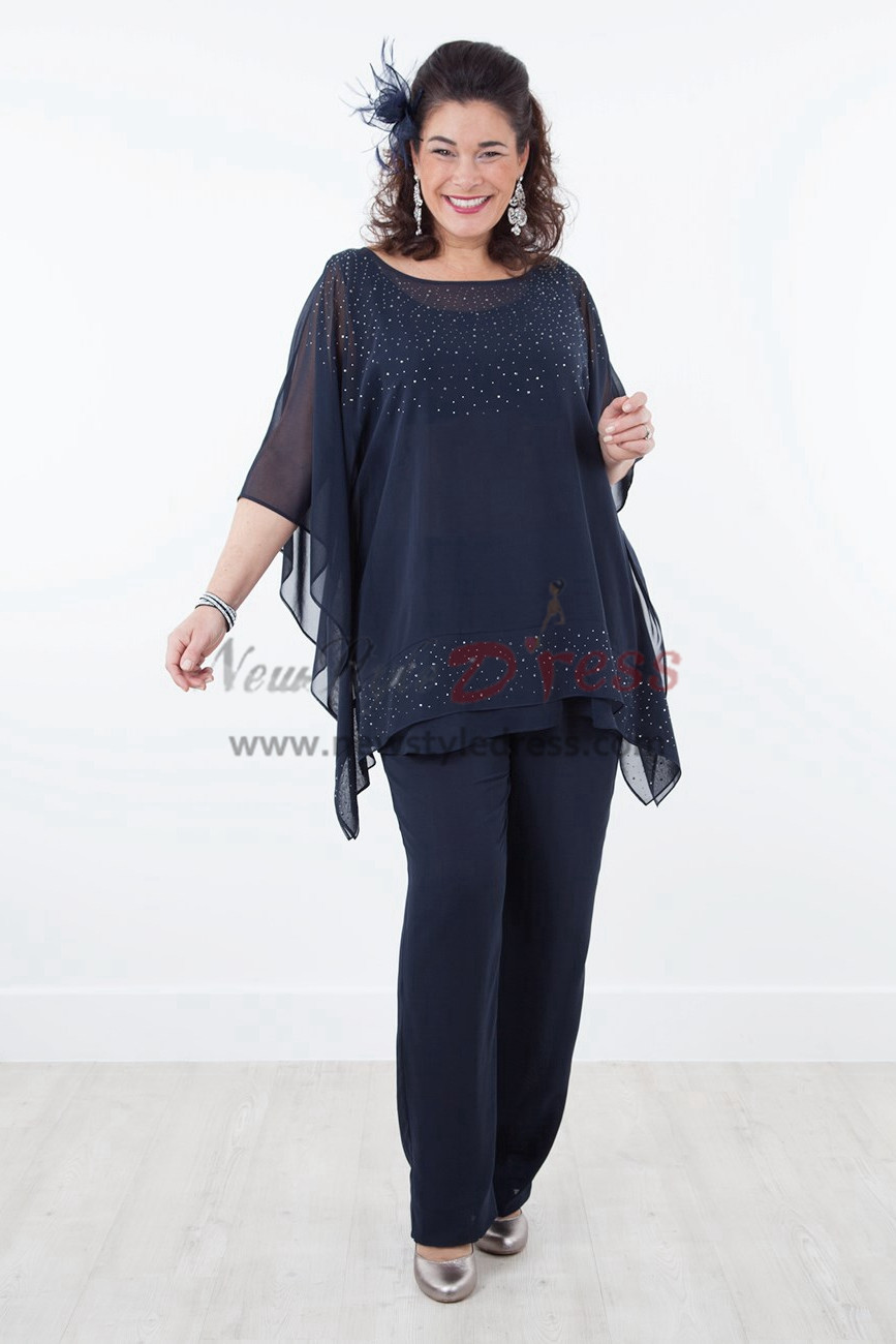 Plus Size Mother of the bride pants suit with Elastic waist Dark navy Three piece Chiffon Trousers set nmo-290