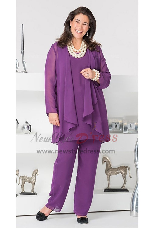 Purple Plus Size Mother of the Bride Pant Suits nmo-296