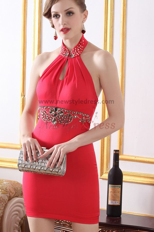 red/black Halter hip package Sexy Sheath Glass Drill short prom dress nm-0260