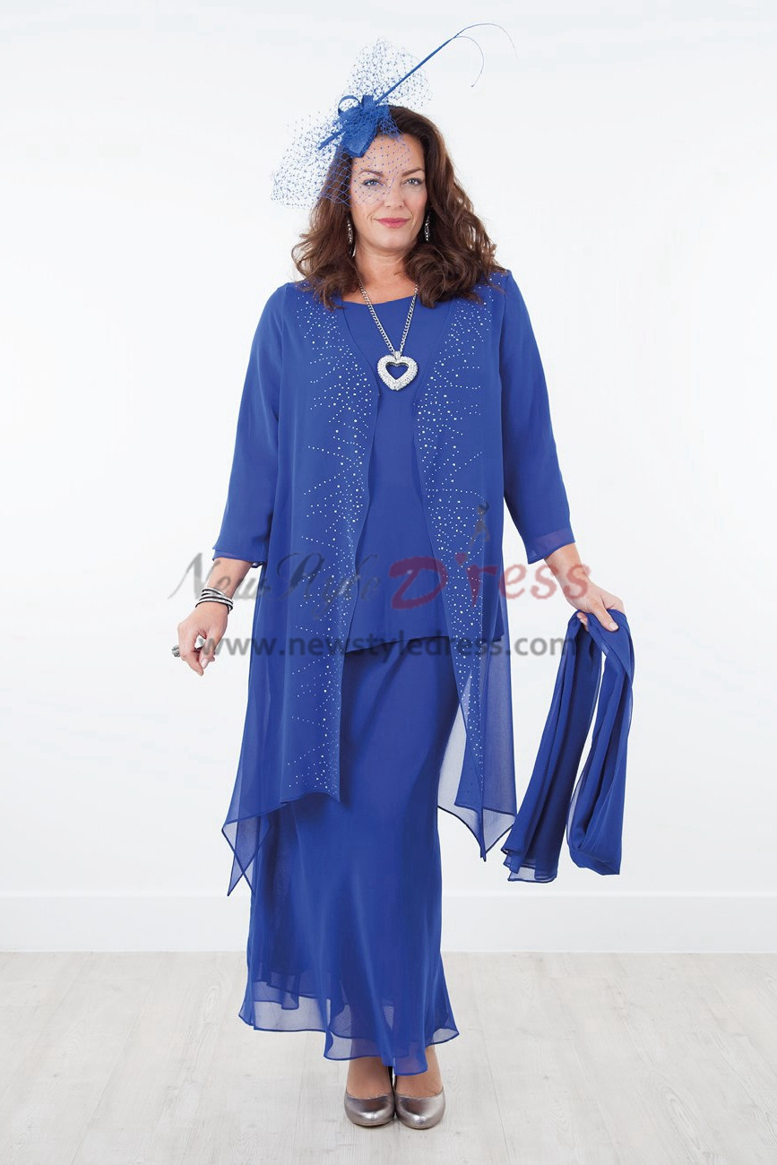 Royal blue Mother of the bride dresses with shawl Chiffon outfit for beach wedding nmo-291