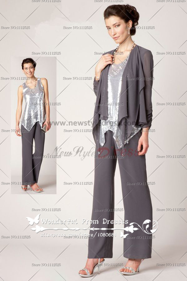 silver gray Three Piece mother of the bride dress pants sets Silver Sequins Vest nmo-072