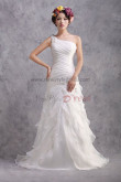 Latest Fashion Layered Sheath Zipper-Up One Shoulder lovely under 200 Wedding Dresses nw-0178