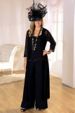 Latest Fashion black mother of the bride dress pants suit With Lace Jacket nmo-067