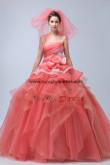 Watermelon Court Train Ruffles Quinceanera gowns Tiered flower nq-027