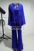 2019 Fashion Royal Blue Lace Sequins Vest Mother Of the bride pants 3 Sets nmo-274