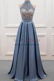 2019 Fashion High Collar Pleat Silver grey Prom dress nmo-341