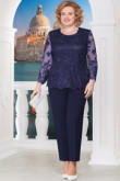 2PC Plus size Mother of the bride pant suits Lace top and Chiffon pants nmo-569