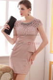 Appliques Above Knee Pink Jewel Sheath Elegant prom dress nm-0232