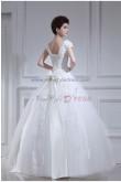 V-neck Ball Gown Short Sleeves Glamorous Floor-Length Appliques Bow Wedding Dresses nw-0097