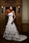 Best Sale Layered lace Appliques Brush Train Classic wedding dress nw-0207