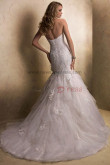 Brush Train Tiered Mermaid lace Sheath Elegant cheap wedding dresses nw-0198