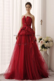 Burgundy a-line Multilayer Tulle Elegant Ruched Wedding Gown nw-0156