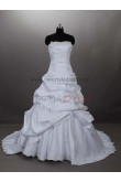 Chest Appliques Crystal CathedralRoyal Train Lace Draped Hand-beading Strapless Satin Princess Wedding dresses nw-0022