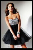 Chest With Crystal Bottom Design black Tulle Homecoming Dress nm-0269