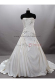 Chest with beading Chapel Train Princess Strapless Satin Elegant Luxurious Crystal Wedding dresses nw-0023