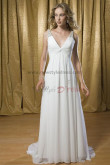Chiffon Deep V-Neck Tank Sashes With Glass Drill Beach Informal wedding dress nw-0206