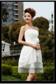 Chiffon Strapless Handmade flower Knee-Length short dress nm-0271