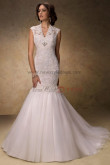 Classic V-neck Mermaid lace Appliques Glamorous Button wedding dresses nw-0187
