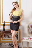 Daffodil Lower body balck hip package Sexy Chest With beading scoop Cocktail Dresses nm-0250