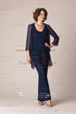 Dark navy Cheap mother of the bride trousers set on sale nmo-103