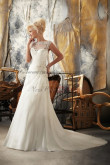 Discount Bateau a-line lace tulle Glamorous Sweep Train wedding dress nw-0230