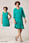Elegant Mother's outfits for the beach wedding green chiffon 2piece dress cms-061