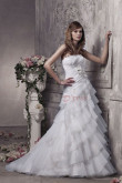 Elegant Tiered Sweep Train White Strapless Wedding Dress nw-0298