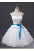 Flowers Pleat Bow Ruffles Empire Knee-Length Satin Organza Strapless A-Line Sexy Glamorous Party dresses nm-0059